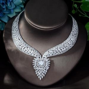 Image 4 - HIBRIDE חדש לבן צבע אופנה למעלה איכות חתונת תכשיטי סטי AAA CZ גיאומטרי כלה עגילי שרשרת סטי N 1141