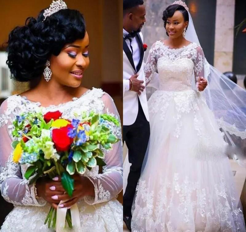 Long Sleeve Mermaid Wedding Dress White Lace Applique Puffy Skirt High Quality African Bridal Dresses Bridal Gown Hochzeitskleid