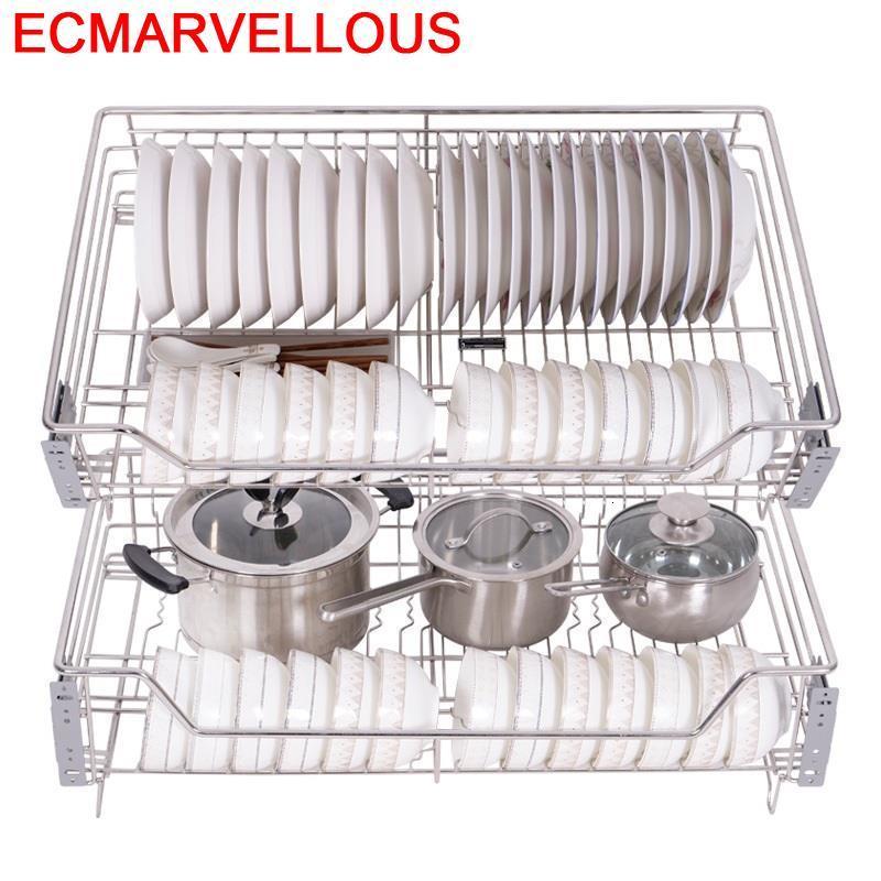 Organizer Organizador Armario Rangement Cucina Mutfak Pantry Stainless Steel Cocina Cuisine Kitchen Cabinet Storage Basket