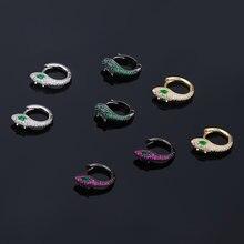 Женские серьги кольца в виде змеи черные золотые серебряные
