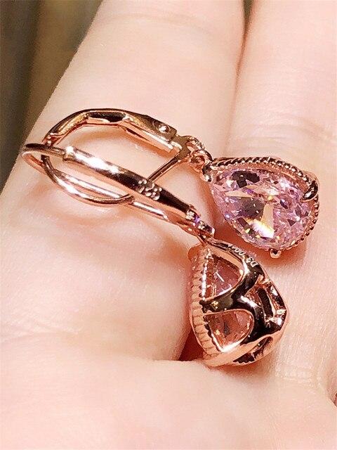 S925 Silver Drop Earrings For Women Water Drop Pink Cubic Zirconia Wedding Engagement Bridal Jewelry Dangle Earring CCE624 2