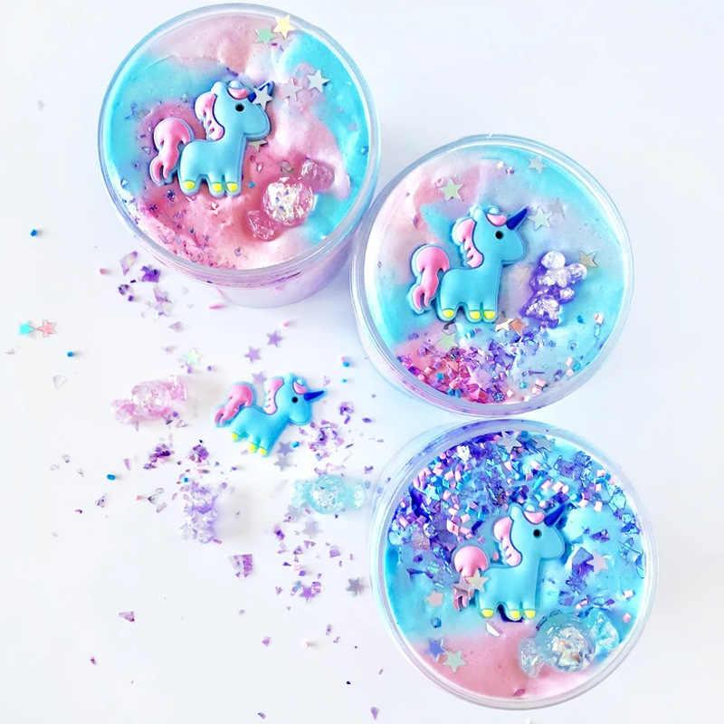يونيكورن نفخة الوحل 60 مللي البلاستيك الطين ضوء الطين الملونة النمذجة بوليمر كلاي الرمال تململ البلاستيسين اللثة للعب اليدوية