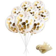 10pcs/lot 12inch 4g Thick Latex Clear Gold Confetti Balloons Transparent Aluminum Ball Happy Birthday Party Decorations Kids Toy