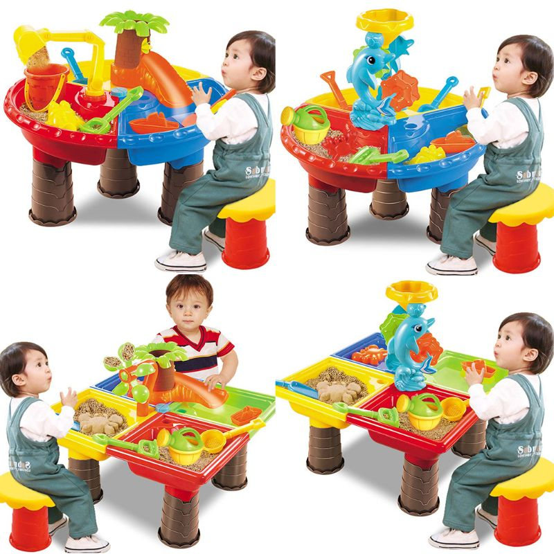 Kids Sand And Water Play Table Garden Sandpit Play Set Outdoor Seaside Beach Toy D08C