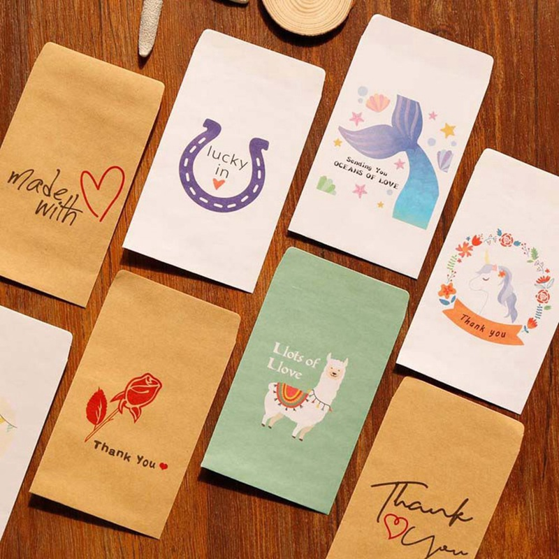 10pcs Mini Kraft Paper Bags For Gifts Unicorn Thank You Small Gift Bag Mermaid Wedding/christmas Party Favor Bags Paper Envelope