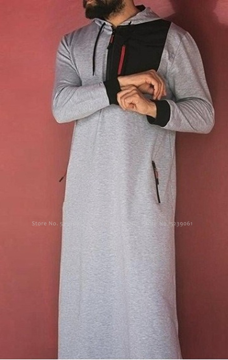 Abaya Men Arabic Long Sleeve Hoodies Muslim Dress Kaftan Saudi Arabia Islamic Clothing Men Pakistan Ethnic Thobe Jubba Robe Tops Men