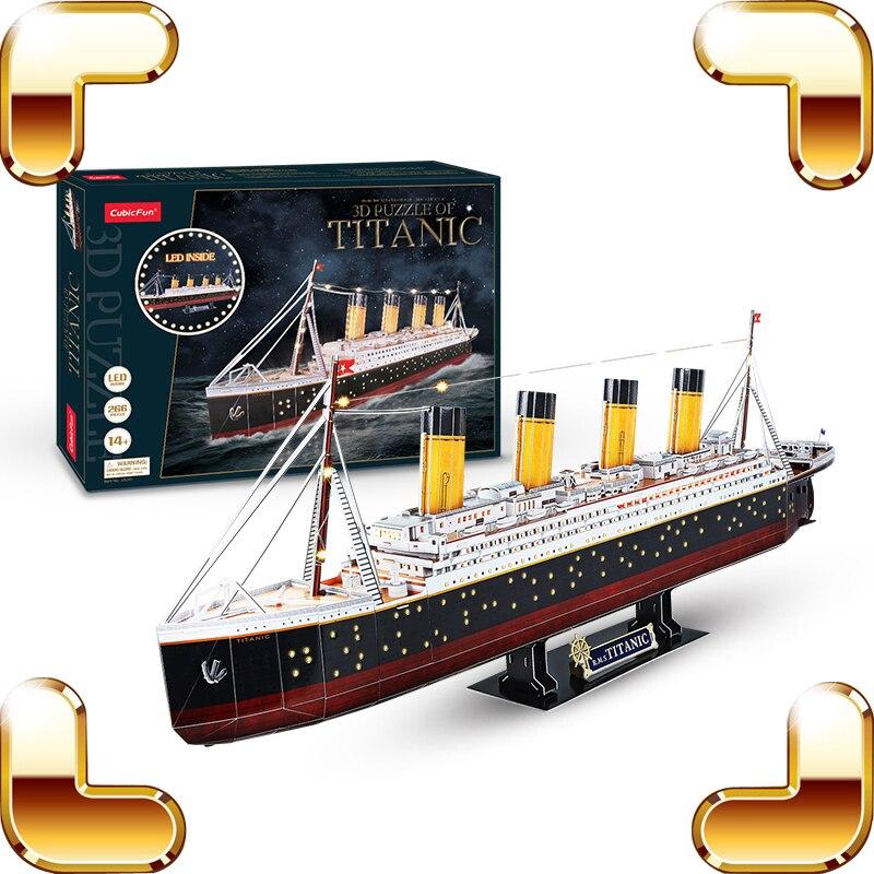 Nuevo regalo de llegada Titanic 3D Puzzle Modelos Versión LED Aprendizaje educativo DIY Juguete Colección hecha a mano Papel Rompecabezas Decoración