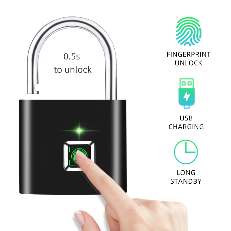 Thumbprint Door Padlocks Rechargeable Door Lock Fingerprint Smart Padlock Quick Unlock Keyless USB