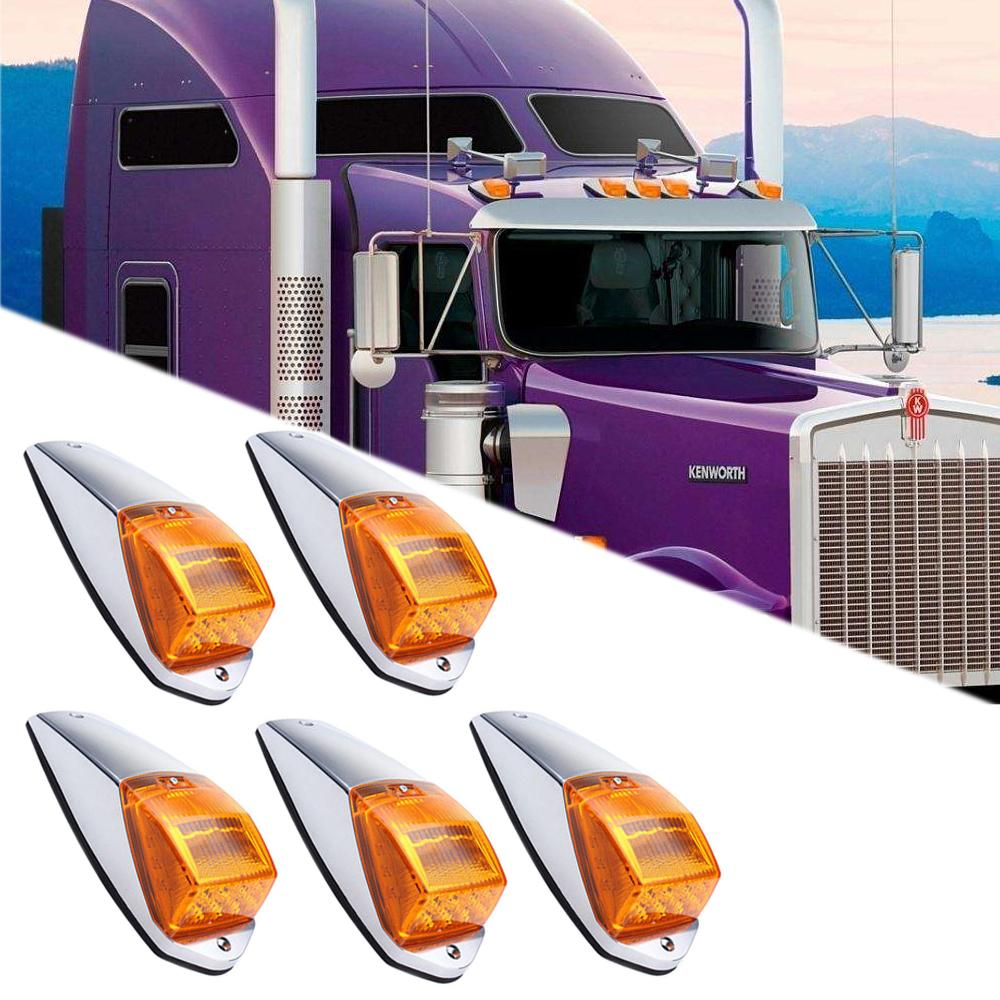 5x Amber 17LED Cab Roof Running Top Clearance Marker Light Assembly for Kenworth