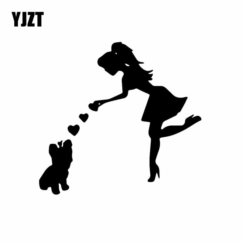YJZT 13.3X12.5CM Crazy Yorkie Mama Car Sticker Yorkie Mom With Dog Vinyl Car Window  Decal Black/Silver C24-1612