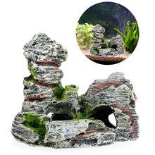 Vista montanha aquário decoração musgo árvore casa resina caverna tanque de peixes ornamento decoração paisagismo decorativo z07 navio da gota