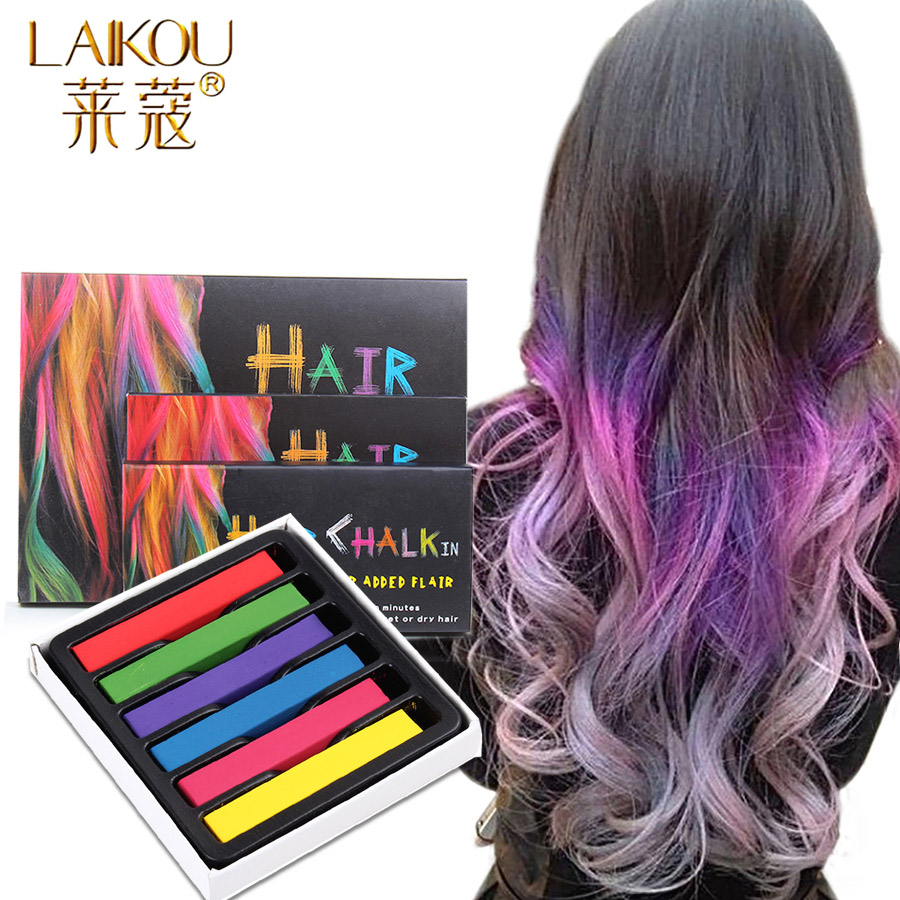LAIKOU Brand 6 Color Hair Color Wax Chalk for the Hair Color Temporary Blue Hair Dye Professional Crayons for Hair Multicolor image