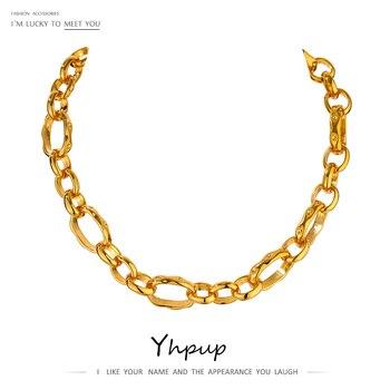 Yhpup minimalistyczny Heavy Metal łańcuch wyróżniający się naszyjnik ze stopu cynku tekstury moda Choker naszyjnik biżuteria Bijoux Femme Party prezent