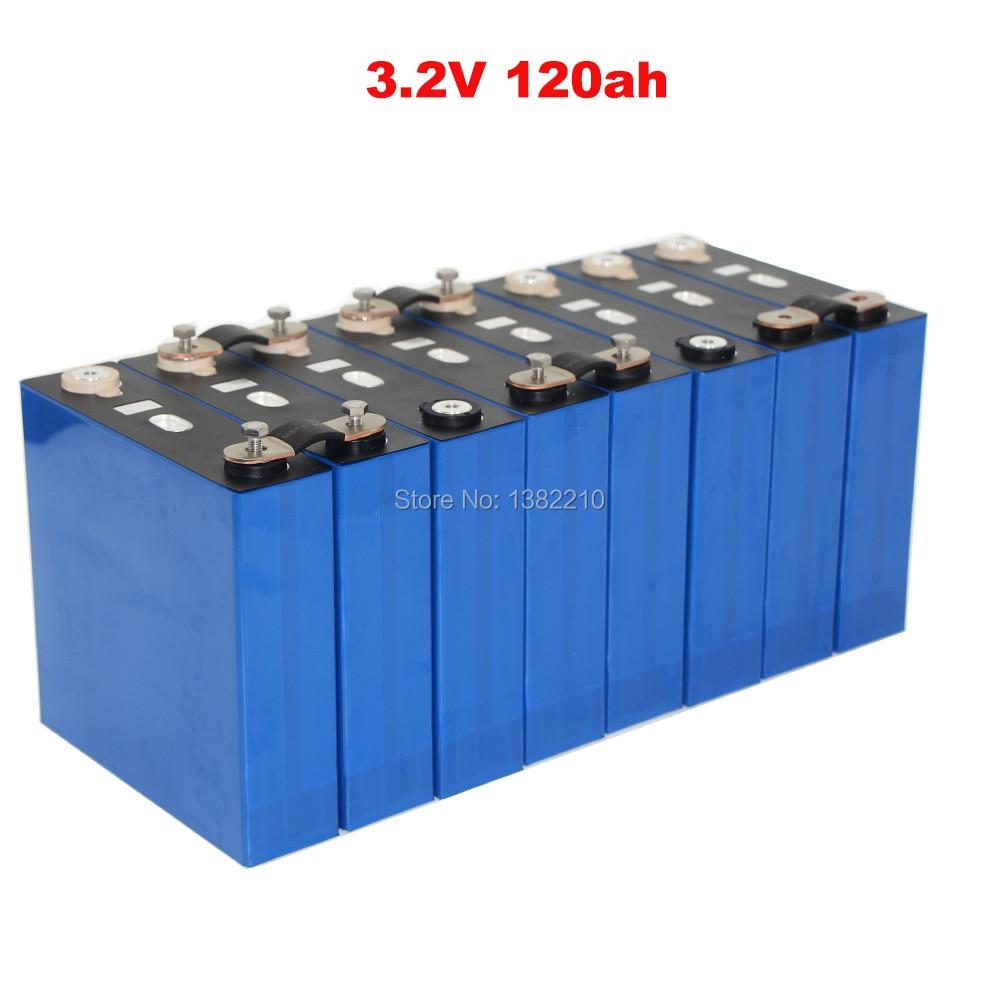 8ピース/ロットLiFePO4バッテリー3.2v 120Ah 2C 240A電流24v 120Ah太陽エネルギー蓄電池パックでバスバー