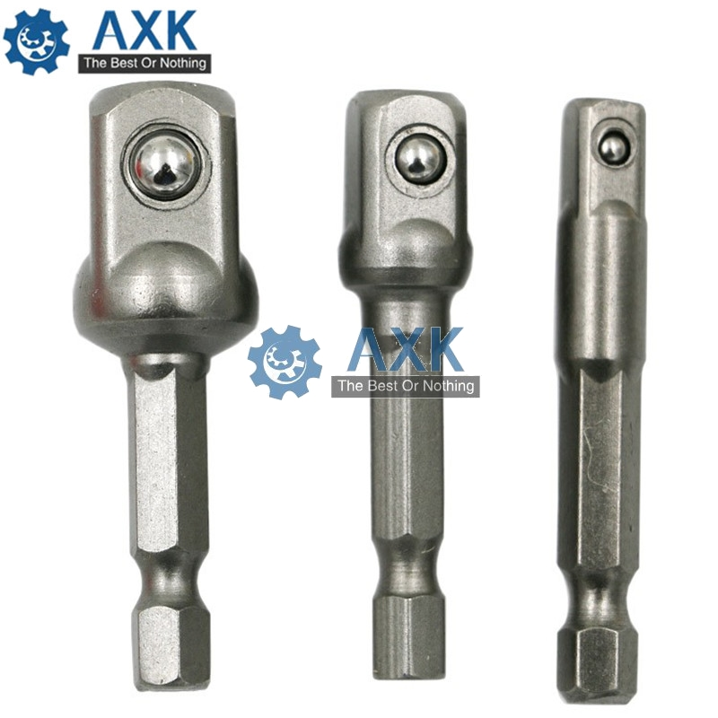 AXk Chrome Vanadium Steel Socket Adapter Seth Ex Shank To 1/4