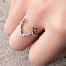 Vintage Deer Horn Antlers Finger Ring For Women Charm Men Deer Head Gold Ring Unisex Christmas Jewelry Animal BFF Rings Bague недорого