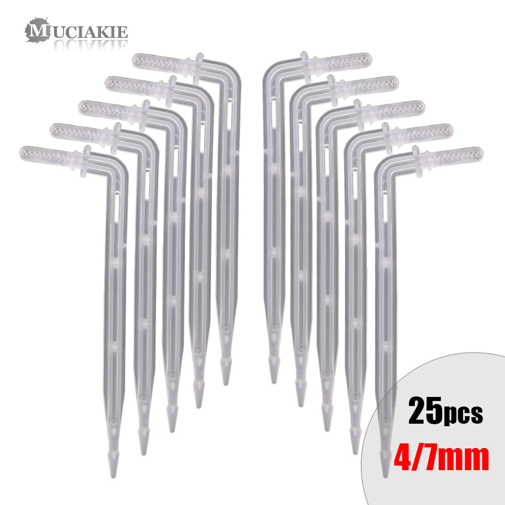 MUCIAKIE 25PCS 4/7mm Transparent Elbow Arrow Drippers 11cm OD 4mm Bending Drop Emitter Garden Potted Irrigation Watering Tool