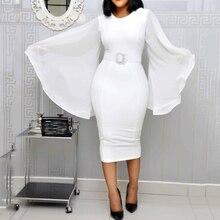 Белый элегантный вечерние платье женщины 2021 черный офис мода шифон клеш длинный рукав сексуальный облегающий пояс дамы осень миди платья
