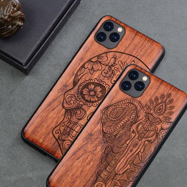 מגולף גולגולת עץ טלפון מקרה עבור iPhone 7 6 6s 8 בתוספת X XR XS מקס iPhone11 iPhone 11 פרו הסיליקון מקרה עץ כיסוי