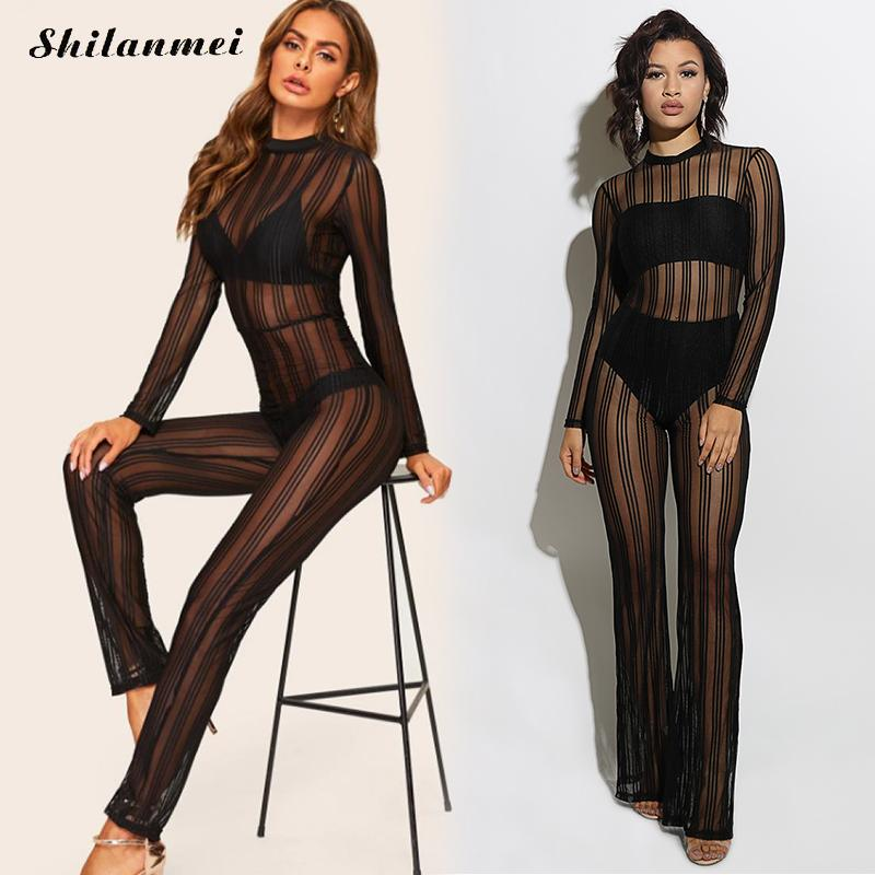 2019 Sexy Jumpsuits Women O-Neck Fashion See Through Mesh Sheer Long Jumpsuits Long Sleeve Transparent Striped Club Playsuits