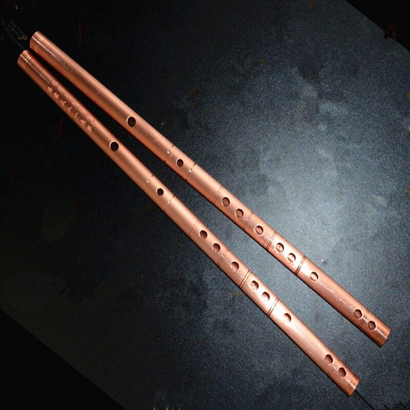 Flûte chinoise rouge cuivre métal flûte Dizi C DE F G clé métal Flauta flûte transversale Instruments DE musique arme d'auto-défense
