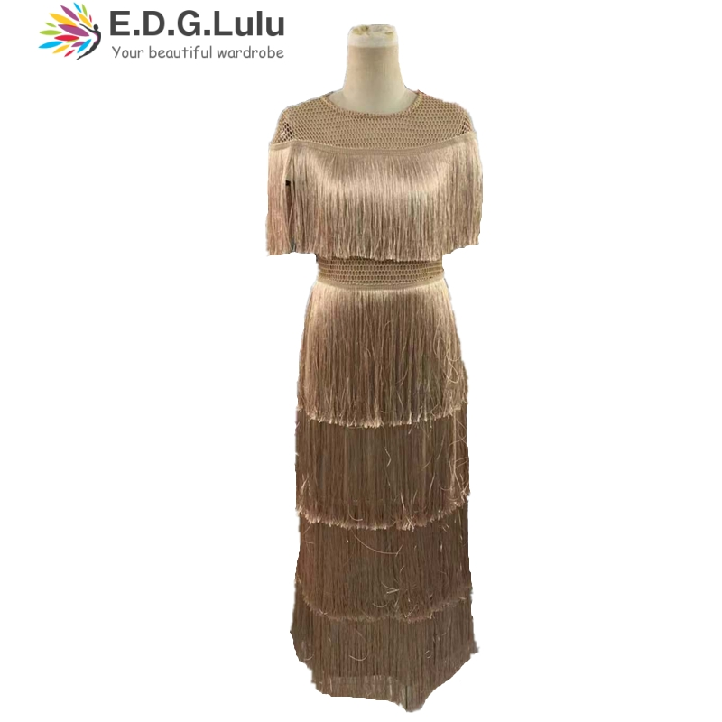 EDGLuLu new arrival vintage elegant sexy party club wear beach fairy sundress runway women summer <font><b>dress</b></font> 2019 tassel long <font><b>dress</b></font> image