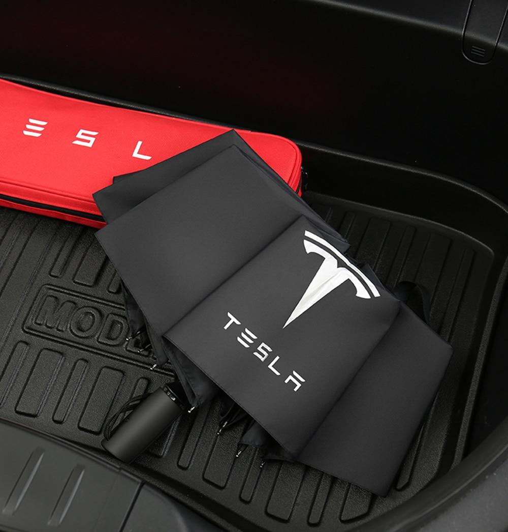 Grote Maat 23in 24in Paraplu Voor Tesla Model 3 Winddicht Automatische Zon Strand Drievoudige Voor Model X Model S Model Y Accessoires
