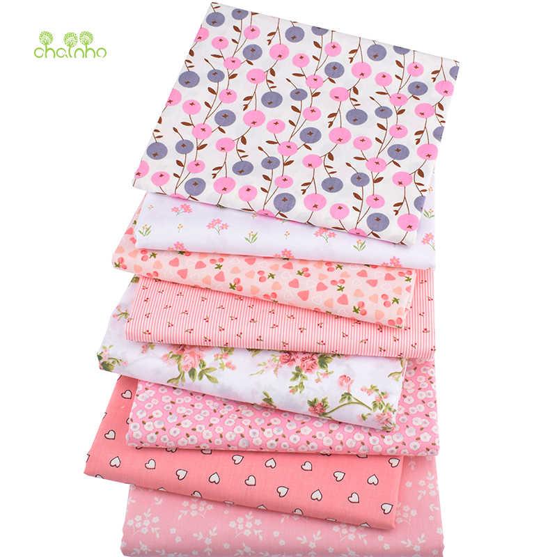 Chainho,8 unids/lote, serie Floral rosa, tela de algodón de sarga impresa, tela de retales, Material de acolchado de costura DIY para bebés y niños