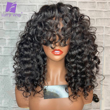 Made-Wig Bangs Human-Hair Scalp-Base Curly Density Luffywig Brazilian Bouncy Full-Machine