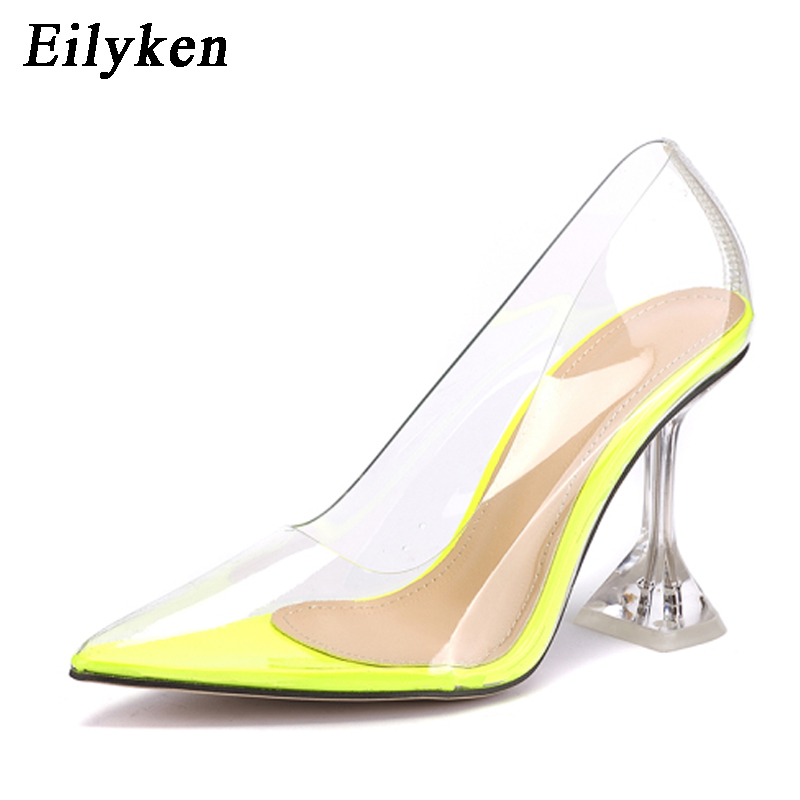 Ladies Clear Crystal Transparent Pointed Toe Low Heel Pumps party Shoes fashion