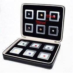 التعبئة الجلدية للأحجار الكريمة أو Deads ديمستون. أسود حقيبة سفر الماس صندوق حجر حقيبة التخزين مع 12 مواد حديدية جوهرة