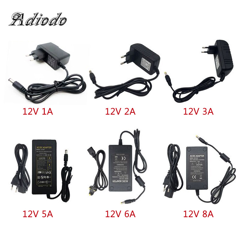 110-240V <font><b>AC</b></font> To DC Adapter 12V 1A 2A 3A 4A <font><b>5A</b></font> 6A Power Adaptor Charger Universal Switching Supply 12 Volt LED Light Strip Plug image