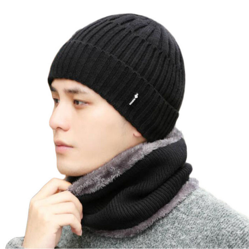 New Autumn and Winter knitted cotton caps for men two piece solid striped fashion Wool hats warm velvet mask man slouchy beanie in Men 39 s Skullies amp Beanies from Apparel Accessories