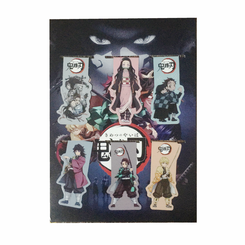 6pcs Demon Slayer Kimetsu No Yaiba Anime Magnetic Bookmark Magnet Bookmark Child Student Kawaii Gift Bookmarks Office Stationery