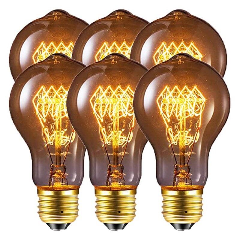 6 pçs pode ser escurecido 60 w retro 40 e27 a60 quente cor branca a19 incandescente edison do vintage luz filamento lâmpada AC220-240V