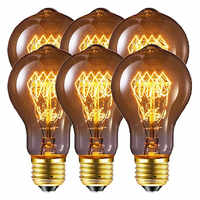 Bombilla clásica de Edison de luz de filamento de AC220-240V incandescente A19, 6 uds., regulable, 60 W, Retro, 40W, E27, A60, Color blanco cálido