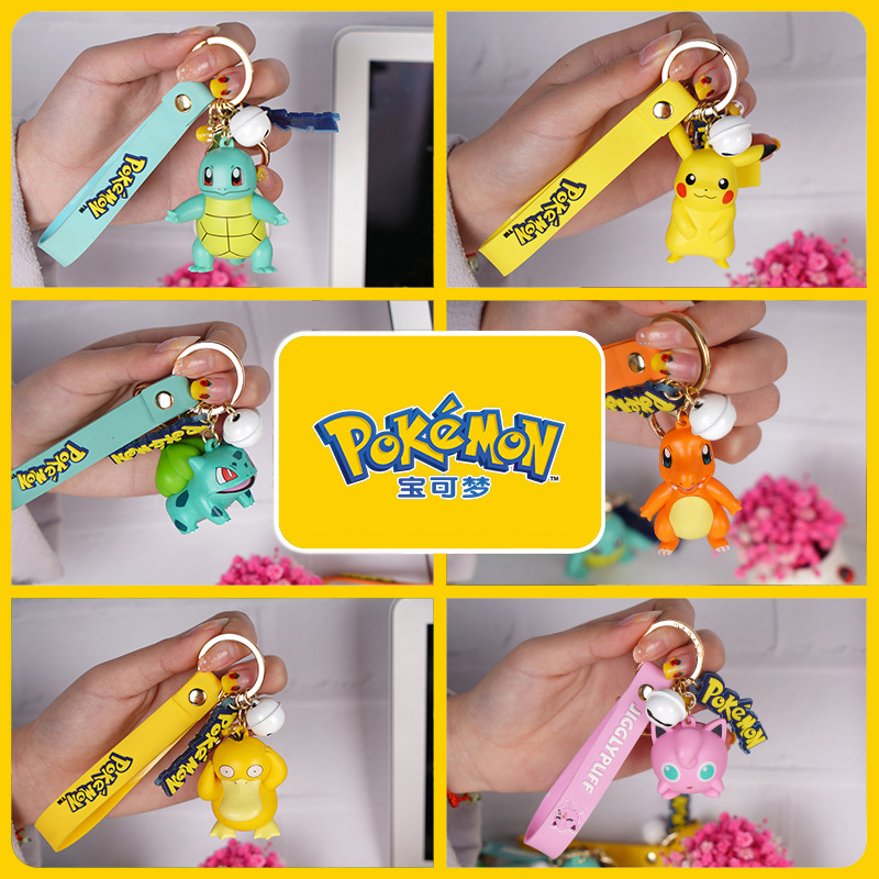 Genuine Pokemon Action Figure Pikachu Keychain Pokémon Keychain Squirtle Psyduck Keychain Model Car Keychain 2