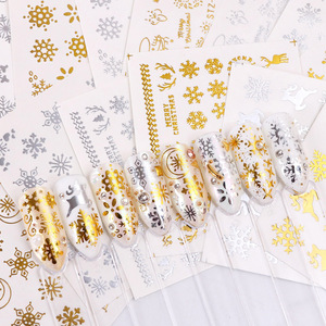 Image 2 - 16pc/set Winter Xmas Stickers For Nails Gold Silver Christmas Snowflake Water Transfer Decal Slider Manicure Decoration BESTZ YA