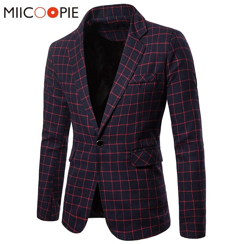 Plus Size Blazer Masculino Autumn Winter Plaid Slim Fit Suit Blazers Men Leisure Business Single Button Formal Mens Suits Jacket