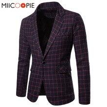 Plus Size Blazer Masculino Autumn Winter Plaid Slim Fit Suit