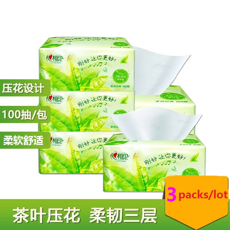 400 Pcses/lot 3 Layers 4 Packs Soft Tissues Comfortable Living Bedroom Paper Towel Native Wood Pulp Toilet Paper Towel Household