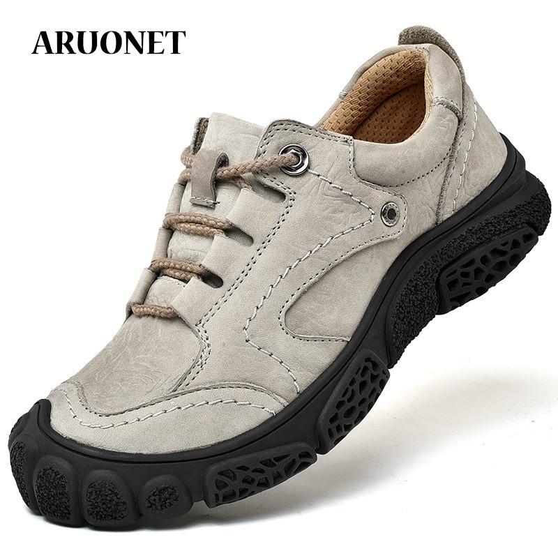 ARUONET Social Designer Cow Leather Man Shoes Breathable Designer Shoes Genuine Leather Men Trainers Shoes Tenis Cano Alto