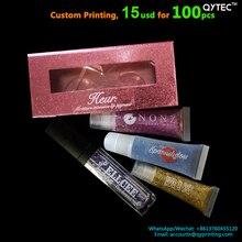 100 pçs impressão personalizada etiqueta privada cílios paleta da sombra batom batom gloss maquiagem tubo de vison caixa caso embalagem adesivo