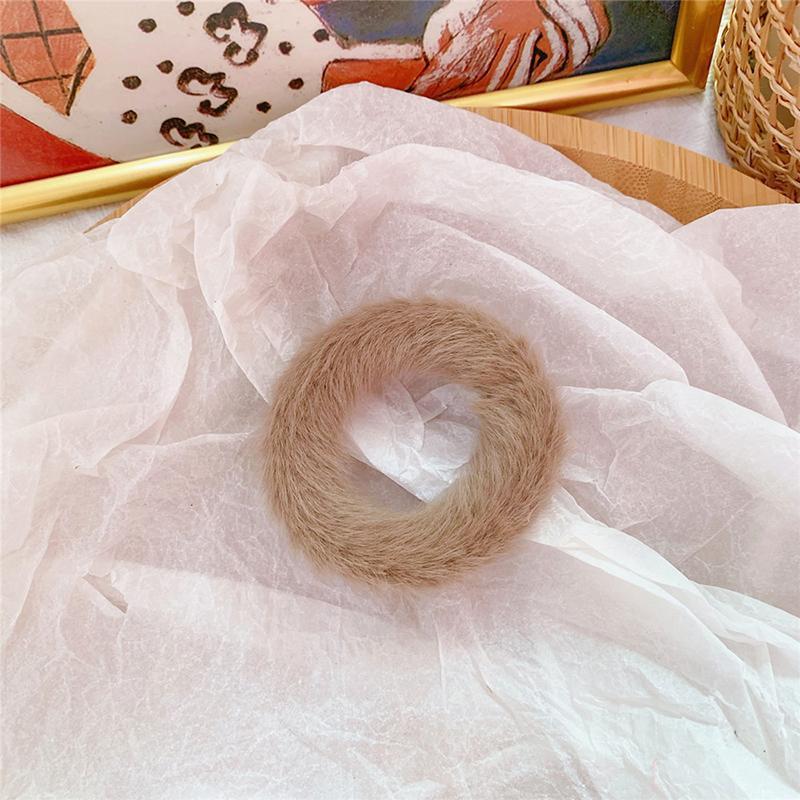 Мягкая Плюшевая повязка для волос резинки для волос натуральный мех кроличья шерсть мягкие эластичные резинки для волос для девочек однотонный цветной хвост резинки для волос для женщин - Цвет: 45