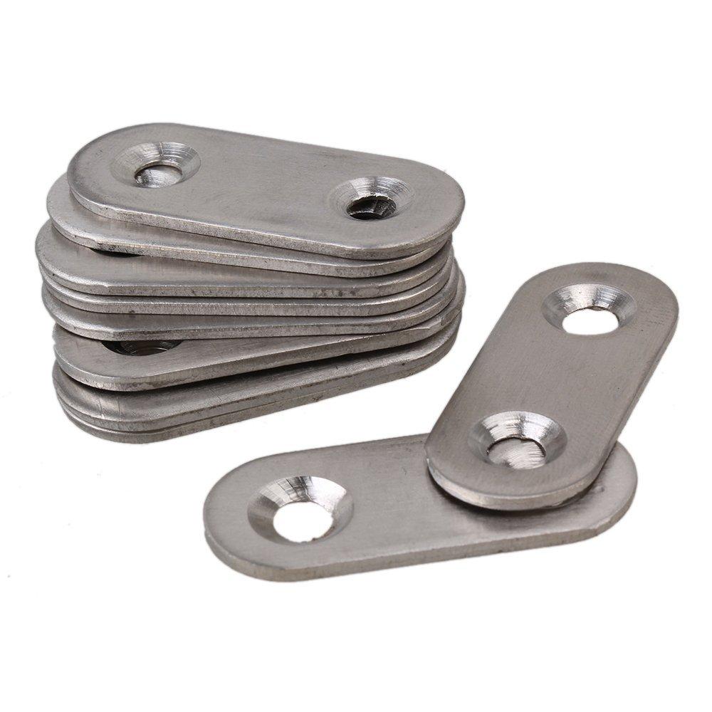 BQLZR 15.5 x 38mm Stainless Steel 2 Holes Flat Corner Brace Plate Connector Repair Bracket Pack of 10