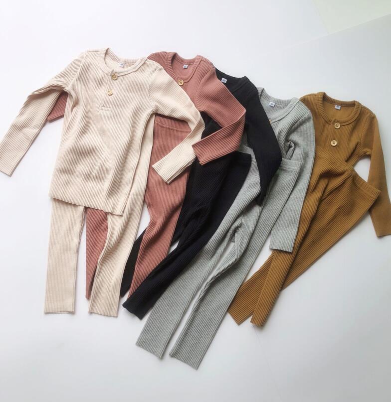Одежда для маленьких мальчиков и девочек; Детский комплект в рубчик; детская одежда с длинными рукавами; сезон осень зима; пижамные комплекты; брюки для малышей