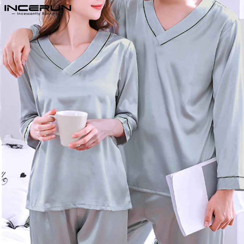 INCERUN Men Pajamas Sets Unisex Sleepwear Breathable Soft V Neck Nightgown Long Sleeve Loose Couple Pyjamas Sets 2 Pieces S-5XL
