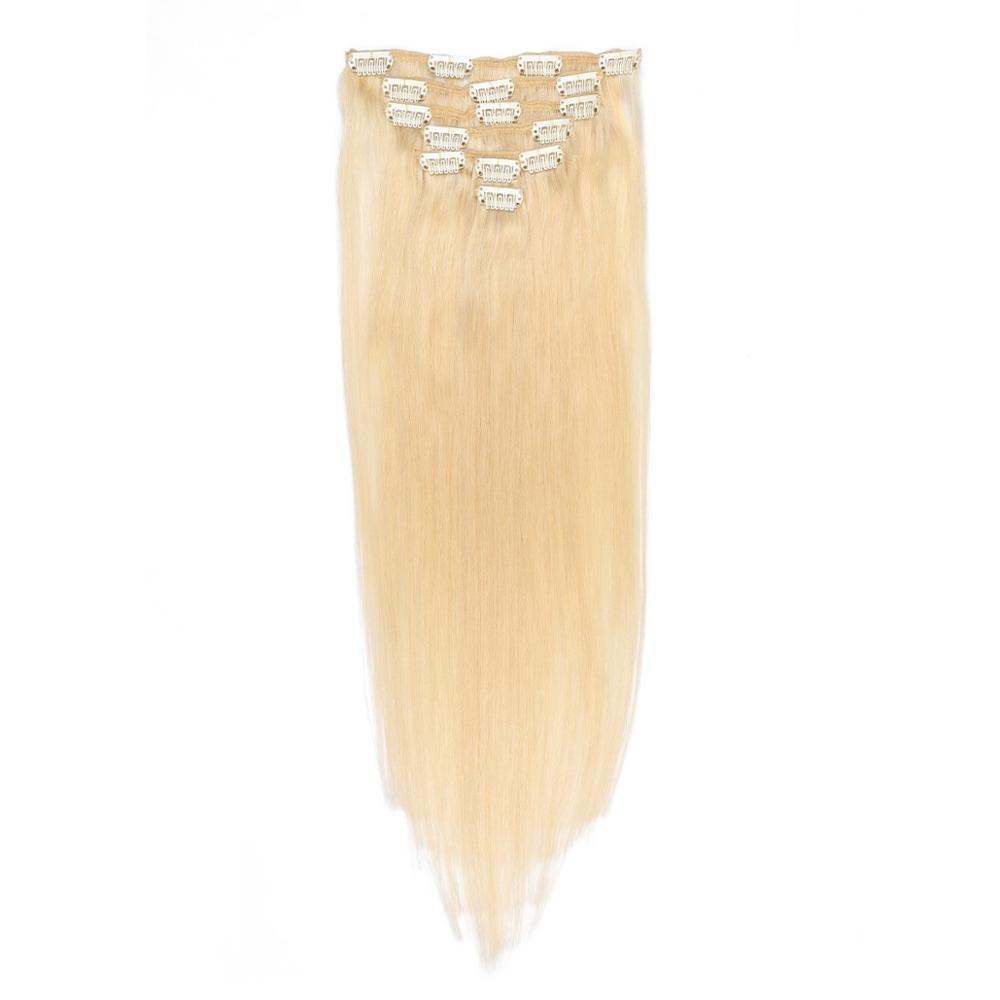 Clip In Human Hair Extensions Brazilian #24 Remy 16- 26 Inch 100g Machine Made Clip Human Hair Extensions