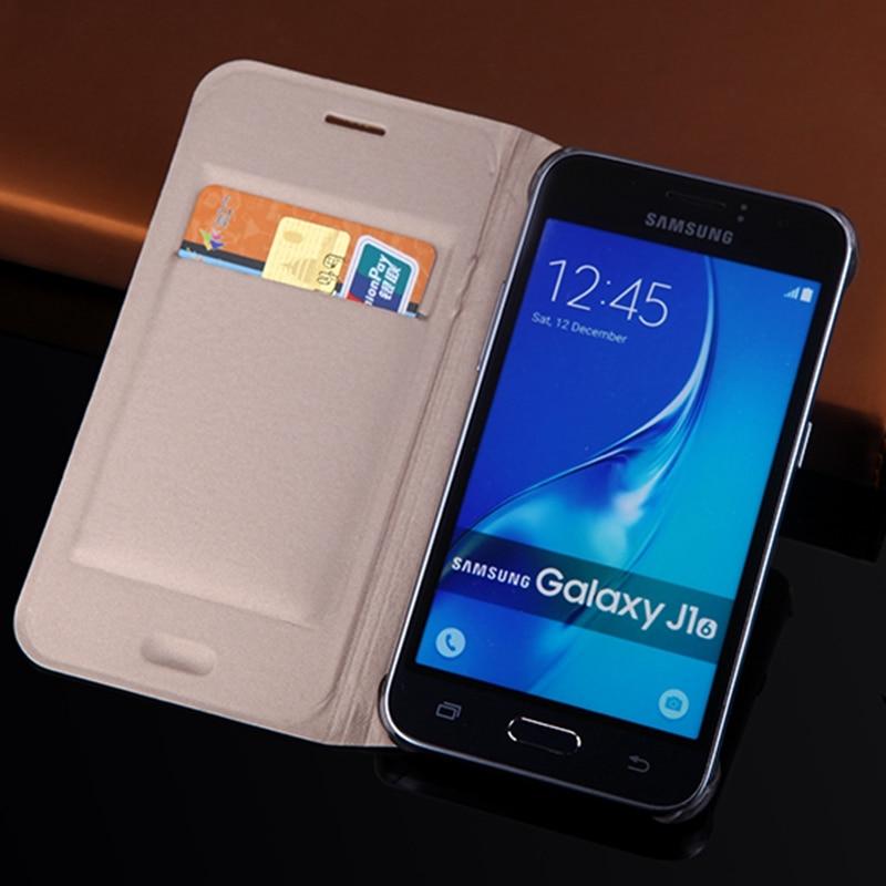 Fino caso carteira para samsung galaxy j1 2016 j120 j120f j120h j120m telefone manga saco capa flip com titular do cartão bolsa de negócios