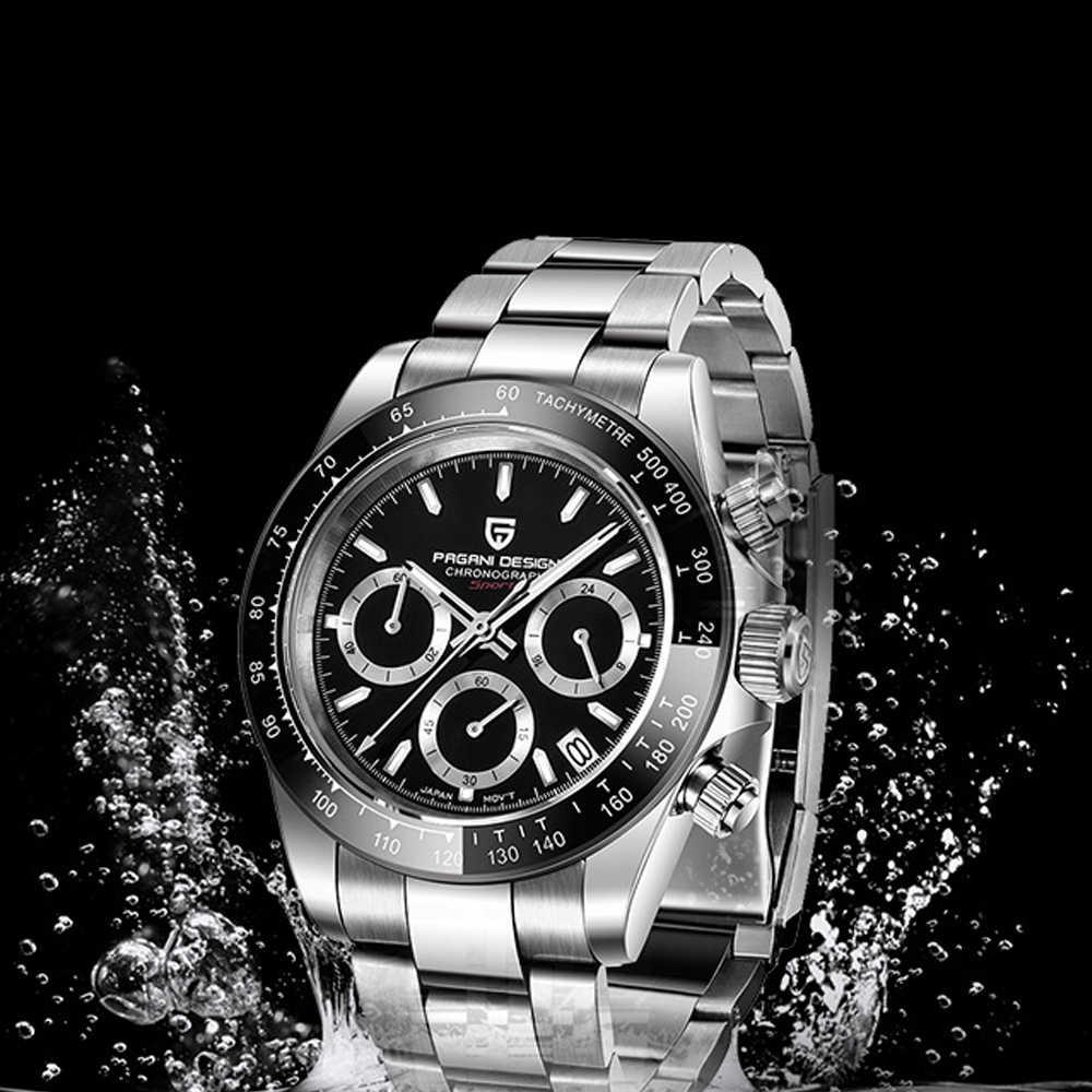 高級メンズ腕時計100メートル防水スポーツサファイア腕時計男パガーニデザインベゼルクロノグラフメンズ腕時計VK63リロイhombre 2020